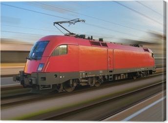 Leinwandbild Modernen europäischen elektrische Lokomotive mit Bewegungsunschärfe