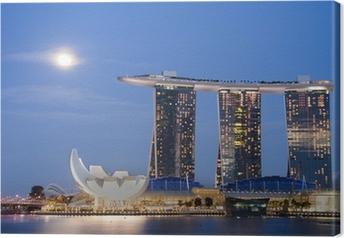 Leinwandbild Moon over Marina Bay Sands