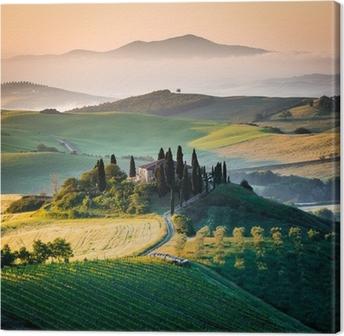 Leinwandbild Morgen in der Toskana, Landschaft und Berge