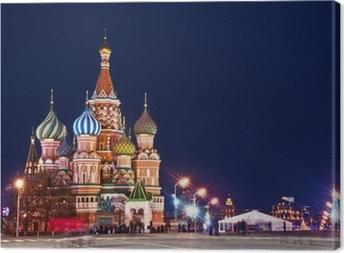 Leinwandbild Moskau Basilius-Kathedrale Nachtaufnahme
