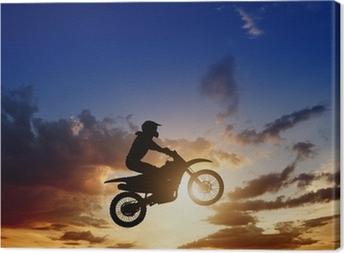 Leinwandbild Motorcircle Reiterschattenbild