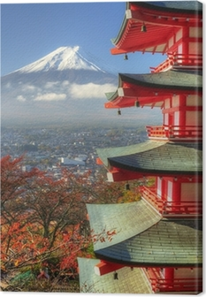 Leinwandbild Mt. Fuji und Autumn Leaves in Arakura Sengen Schrein in Japan