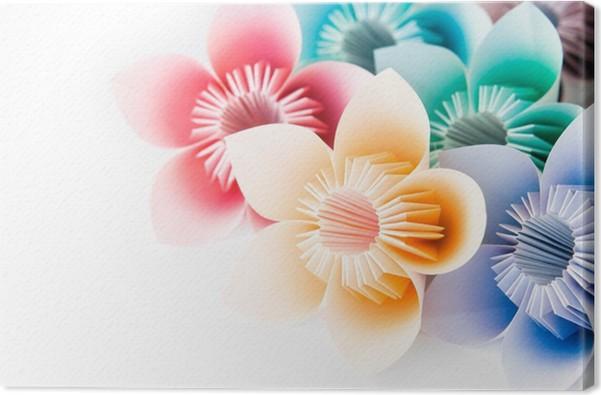 Leinwandbild Multi-Farb-Origami Blumen auf einem weißen Hintergrund ...
