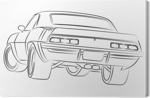 Leinwandbild Muscle Car Zeichnung Pixers Wir Leben Um Zu Verandern
