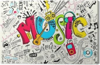 Leinwandbild Musik Doodle