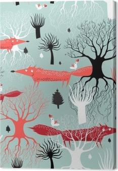 Leinwandbild Muster-Bäume und Füchse