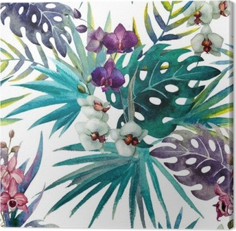 Leinwandbild Muster mit Hibiskus- und Orchideenblättern, Aquarell