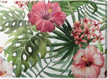 Leinwandbild Muster Orchidee Hibiscusblätter Aquarell Tropen