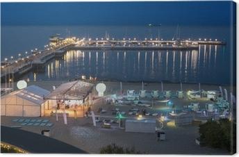 Leinwandbild Nacht Blick auf den Pier in Sopot, Polen.