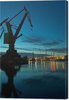 Leinwandbild Nacht in der Werft von Danzig, Polen.