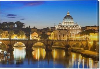 Leinwandbild Nachtansicht der Basilika St. Peter und Fluss Tiber in Rom in Italien