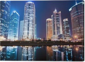 Leinwandbild Nachtansicht von Shanghai Finanzplatz Bezirk