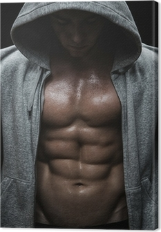Leinwandbild Nahaufnahme von muskulösen Mann Sport nach Gewichte Ausbildung