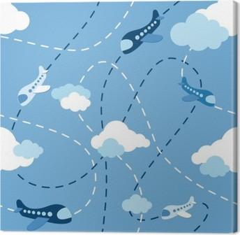 Leinwandbild Nahtlose Flugzeug-Muster