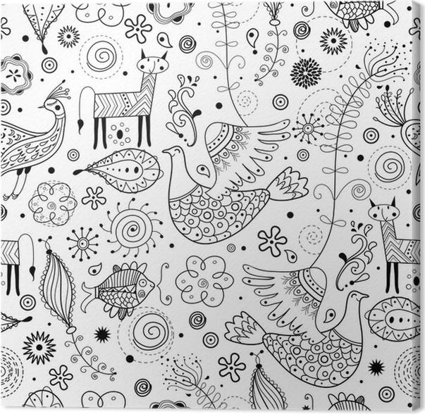 leinwandbild nahtlose grafische muster der fabeltiere - Grafische Muster