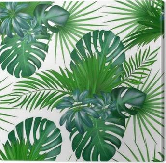 Leinwandbild Nahtlose Hand gezeichnetes realistisches botanisches exotisches Vektormuster mit den grünen Palmblättern lokalisiert auf weißem Hintergrund.