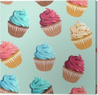 Leinwandbild Nahtlose kleine Kuchen und Polka Dot