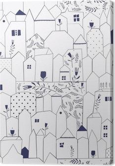 Leinwandbild Nahtlose Muster. Abbildung Städten im Vintage-Stil.