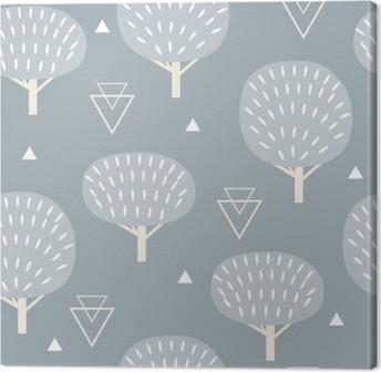 Leinwandbild Nahtlose Muster in modernen skandinavischen Stil. Vector Geometrie Hintergrund von Norden Natur.