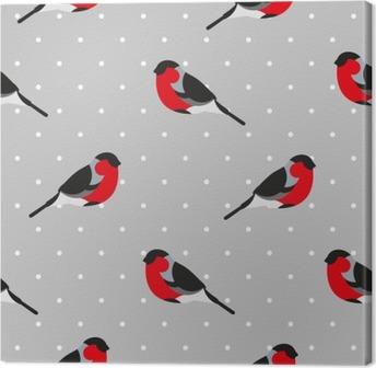Leinwandbild Nahtlose Muster in Polkapunkt mit Gimpel. Ornament für Textil- und Verpackung. Vektor-Hintergrund.