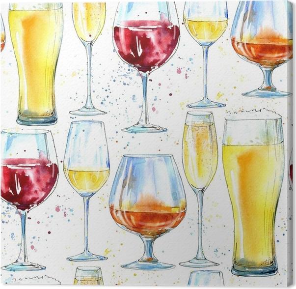 Leinwandbild Nahtlose Muster von Champagner, Cognac, Wein, Bier und ...