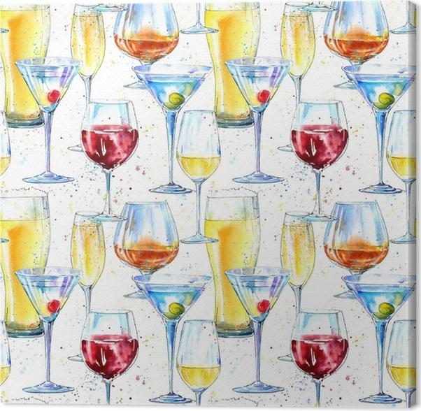 Leinwandbild Nahtlose Muster von Champagner, Cognac, Wein, Martini ...