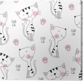 Leinwandbild Nahtlose niedliche Katze Muster Vektor-Illustration