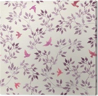 Leinwandbild Nahtlose retro Tapete mit niedlichen Vögeln und ditsy handgemalten Blättern. Vintage Aquarell