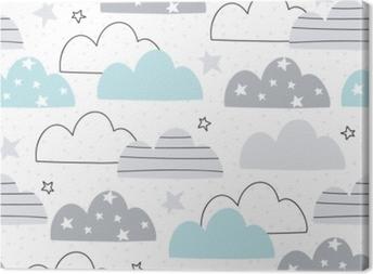 Leinwandbild Nahtlose Wolkenmuster-Vektorillustration