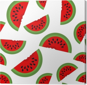 Leinwandbild Nahtloser Hintergrund mit Wassermelonenscheiben. Vektor-Illustration. Entwurf für Grußkarte und Einladung von saisonalen Sommerferien