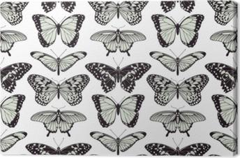 Leinwandbild Nahtloser Weinlesehintergrund des Schmetterlinges
