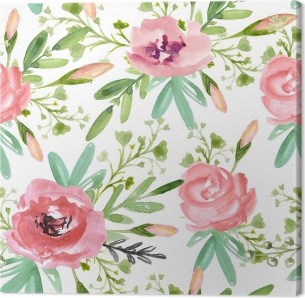 Leinwandbild Nahtloses Blumenmuster mit rosa Blumen auf einem weißen ...