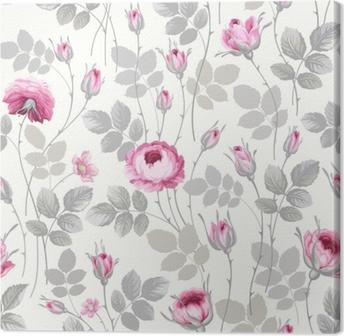 Leinwandbild Nahtloses Blumenmuster mit Rosen in Pastellfarben