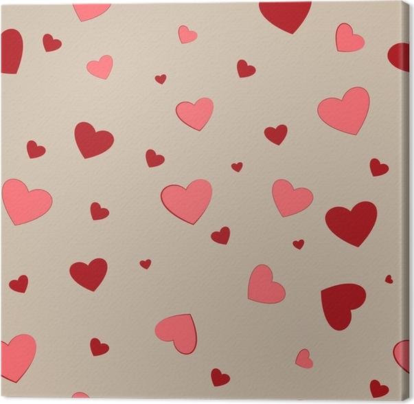 Leinwandbild Nahtloses Muster der Herzpaare. Mode Grafik Hintergrund ...