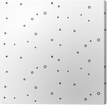 Leinwandbild Nahtloses Muster der kleinen geometrischen Zeichen nahtloses. unscheinbare dünne Kreise und Dreiecke Website Hintergrund einfarbig Muster.