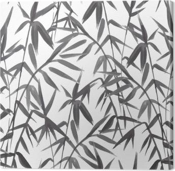 Leinwandbild Nahtloses Muster des Bambusses auf grünem Hintergrund in der japanischen Art, helle frische Blätter, realistisches Schwarzweiss-Design, Vektorillustration