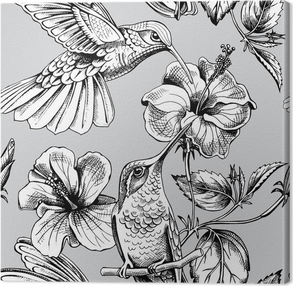 Leinwandbild Nahtloses Muster mit Bild von Kolibris mit einem ...