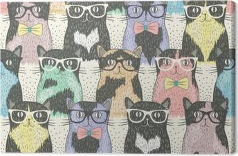Leinwandbild Nahtloses Muster mit niedlichen Katzen hipster für Kinder