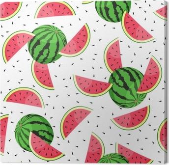 Leinwandbild Nahtloses Muster mit Wassermelonenscheiben. Vektor-Illustration.