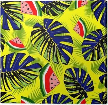 Leinwandbild Nahtloses tropisches Muster mit grünen Blättern und geschmackvoller Wassermelone.
