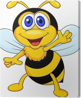 Leinwandbild Nette Biene Cartoon winken