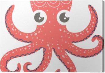 Leinwandbild Nette Illustration der Krake für Kinderzimmerdekor, -drucke und -Poster, Gekritzelartillustration. Vektor