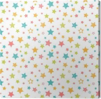 Leinwandbild Nette nahtlose Muster mit Sternen. Stilvolle Druck mit der Hand gezeichnet