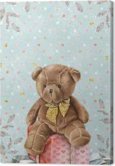 Leinwandbild Netter Aquarell-Teddybär mit Geschenk-Boxen