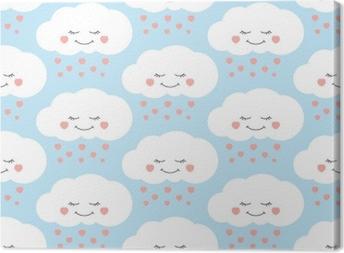 Leinwandbild Netter Babywolkenmustervektor nahtlos. Kinder drucken mit Wolken und Herzen regnen auf lila Hintergrund. Design für Kinder Geburtstagskarte, Tapete oder Stoff, Baby-Dusche Einladung Vorlage.