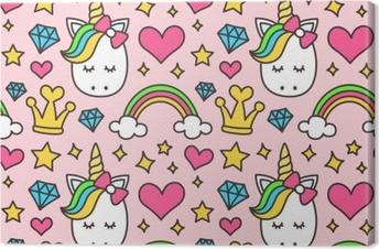 Leinwandbild Nettes Einhorn, Prinzessinkonzept, nahtloses Muster der Mädchenschönheit lokalisiert auf rosa Hintergrund. Vektor-Cartoon-Design. Magie, Märchen, Herz, Regenbogen, Krone, Sterne, Diamant