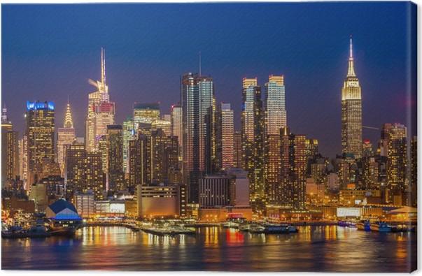 leinwandbild new york city manhattan midtown geb ude skyline nacht pixers wir leben um zu. Black Bedroom Furniture Sets. Home Design Ideas