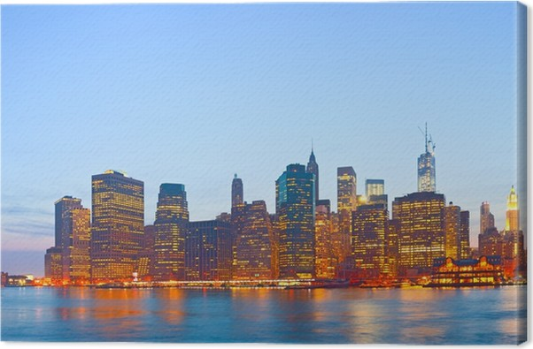 leinwandbild new york city usa farbenpr chtigen sonnenuntergang skyline panorama pixers. Black Bedroom Furniture Sets. Home Design Ideas