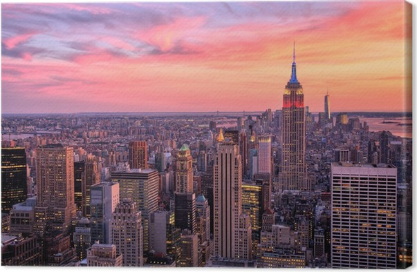 leinwandbild new york midtown mit empire state building bei sonnenuntergang pixers wir. Black Bedroom Furniture Sets. Home Design Ideas