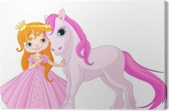 Leinwandbild Niedliche Prinzessin und Einhorn